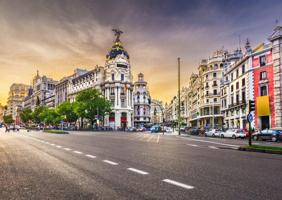 Madrid, Spain cityscape a